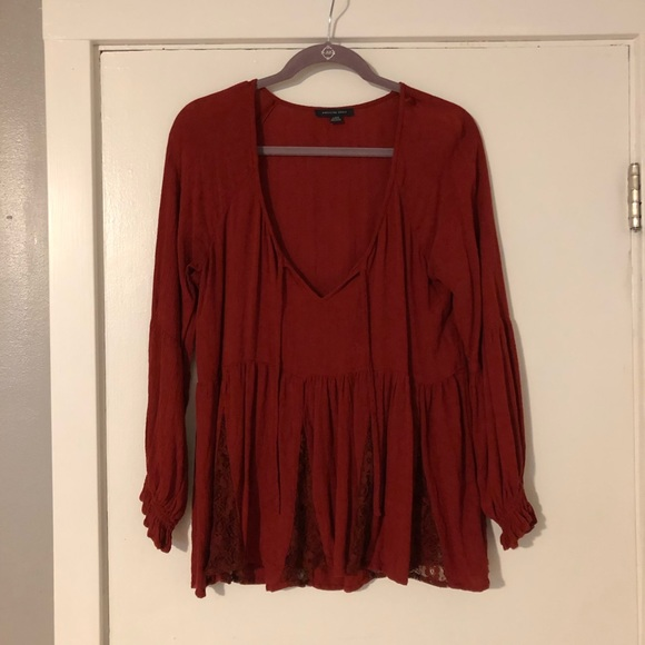 American Eagle Outfitters Tops - Red Long Sleeve Top
